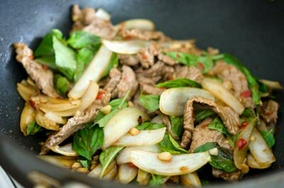 Stir fried Beef with Basil Leaves Recipe (Bò Xào Húng Quế)
